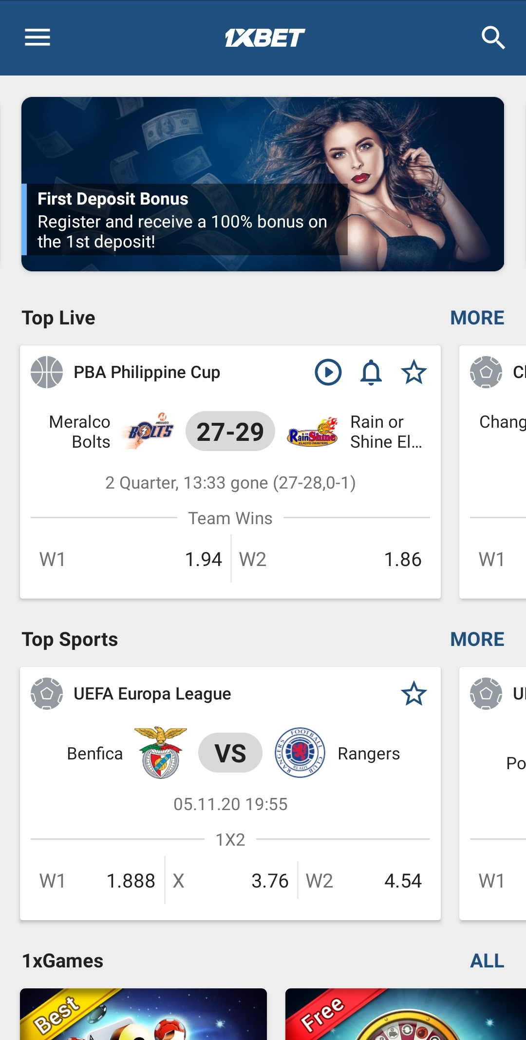1xBet mobile application